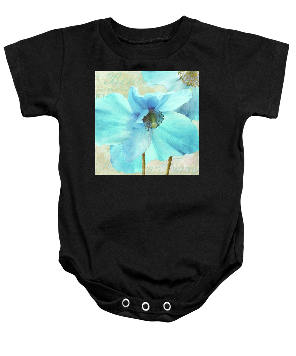 Himalayan Blue Poppy Baby Onesie featuring the painting Himalayan Blue Poppy by Mindy Sommers