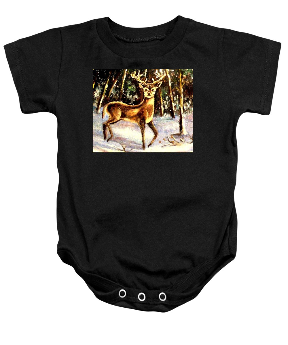 Deer Baby Onesie featuring the painting Hinds Feet by Hazel Holland