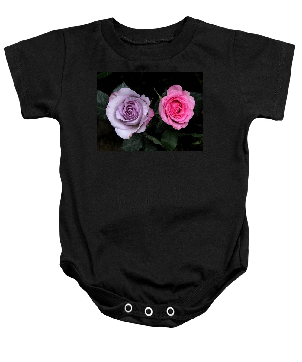 Rose Baby Onesie featuring the photograph His And Hers by Peg Urban
