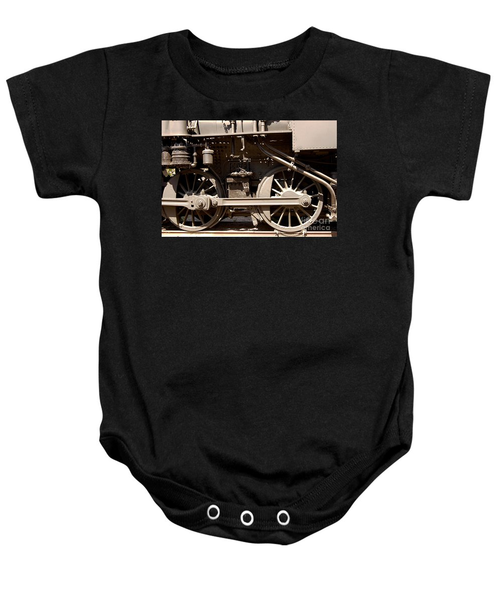 Clay Baby Onesie featuring the photograph Historic Trains by Clayton Bruster