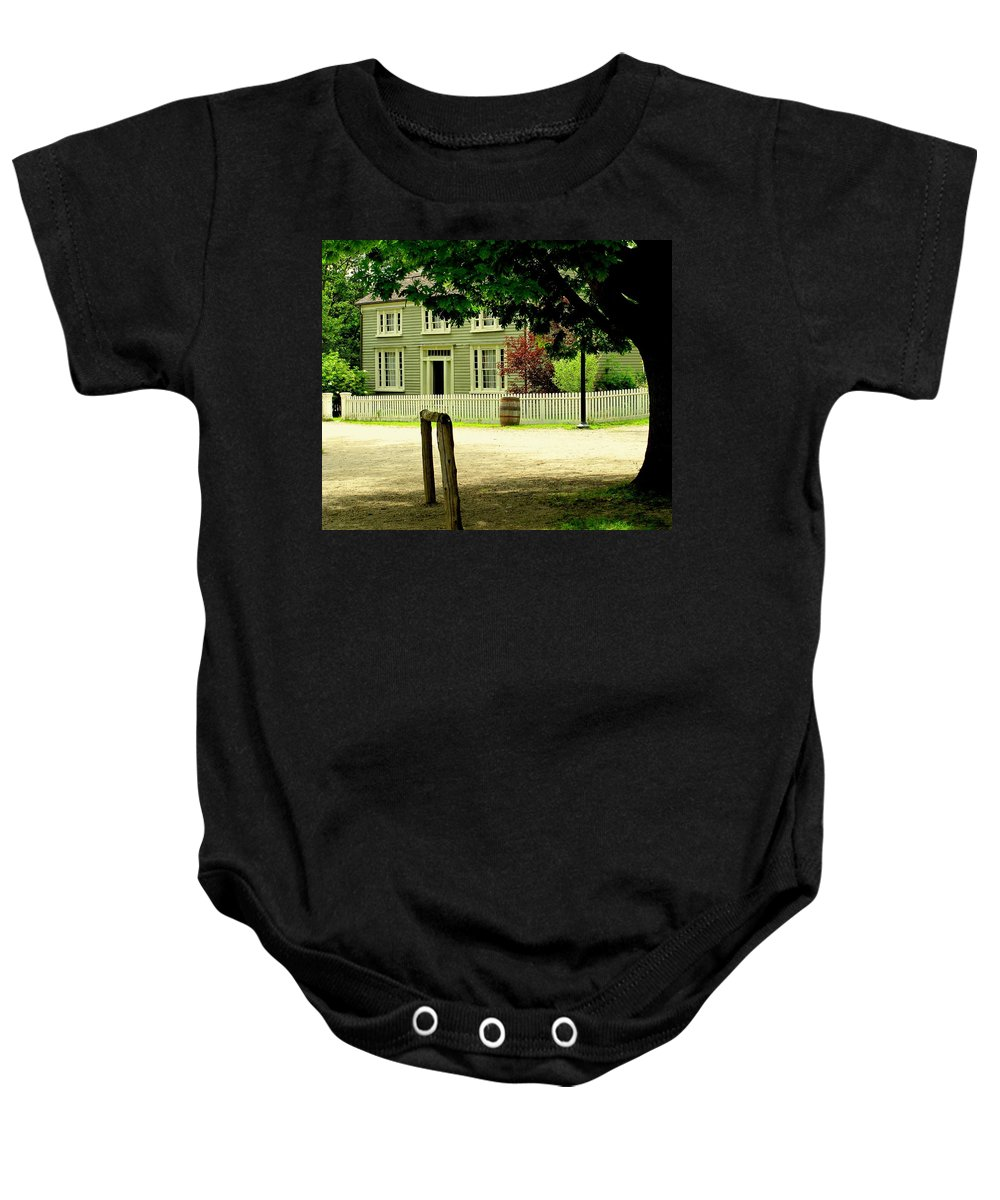 Hitching Post Baby Onesie featuring the photograph Hitching Post by Ian MacDonald