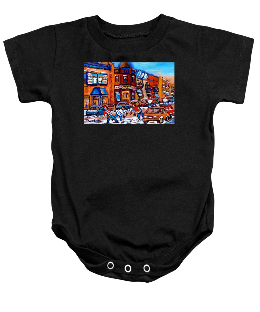 Fairmount Bagel Baby Onesie featuring the painting Hockey At Fairmount Bagel by Carole Spandau