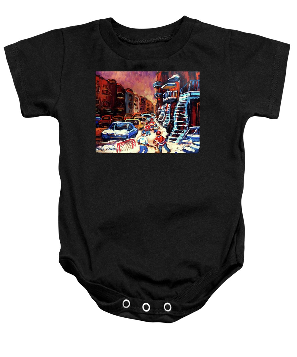 Montreal Baby Onesie featuring the painting Hockey Paintings Of Montreal St Urbain Street Winterscene by Carole Spandau