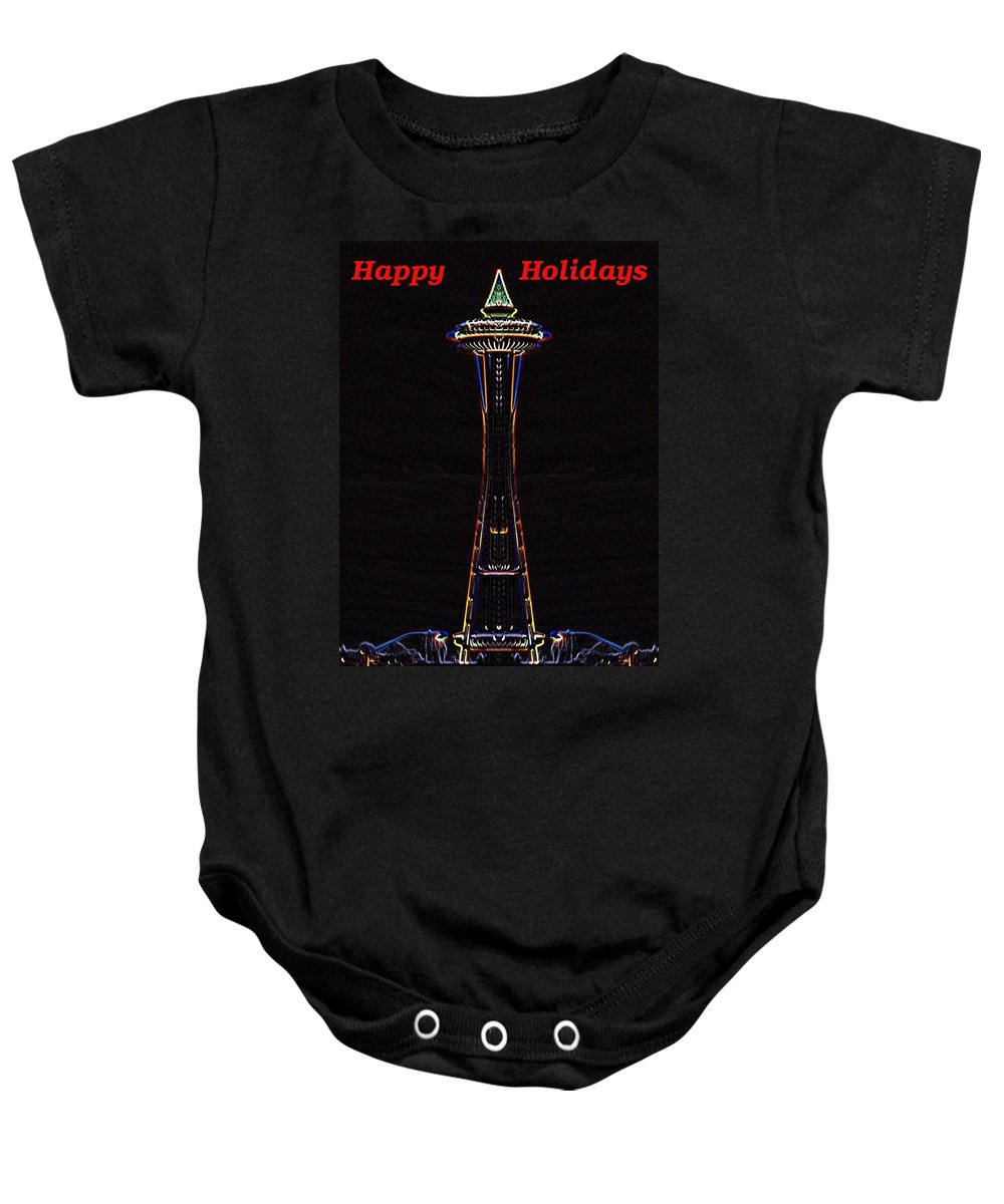 Seattle Baby Onesie featuring the photograph Holiday Needle 3 by Tim Allen