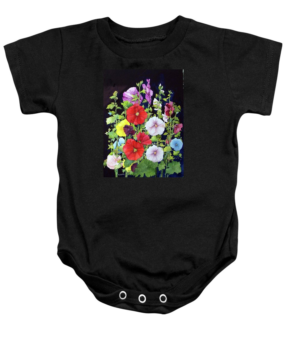 Hollyhocks Baby Onesie featuring the painting Hollyhocks by Ken Marsden