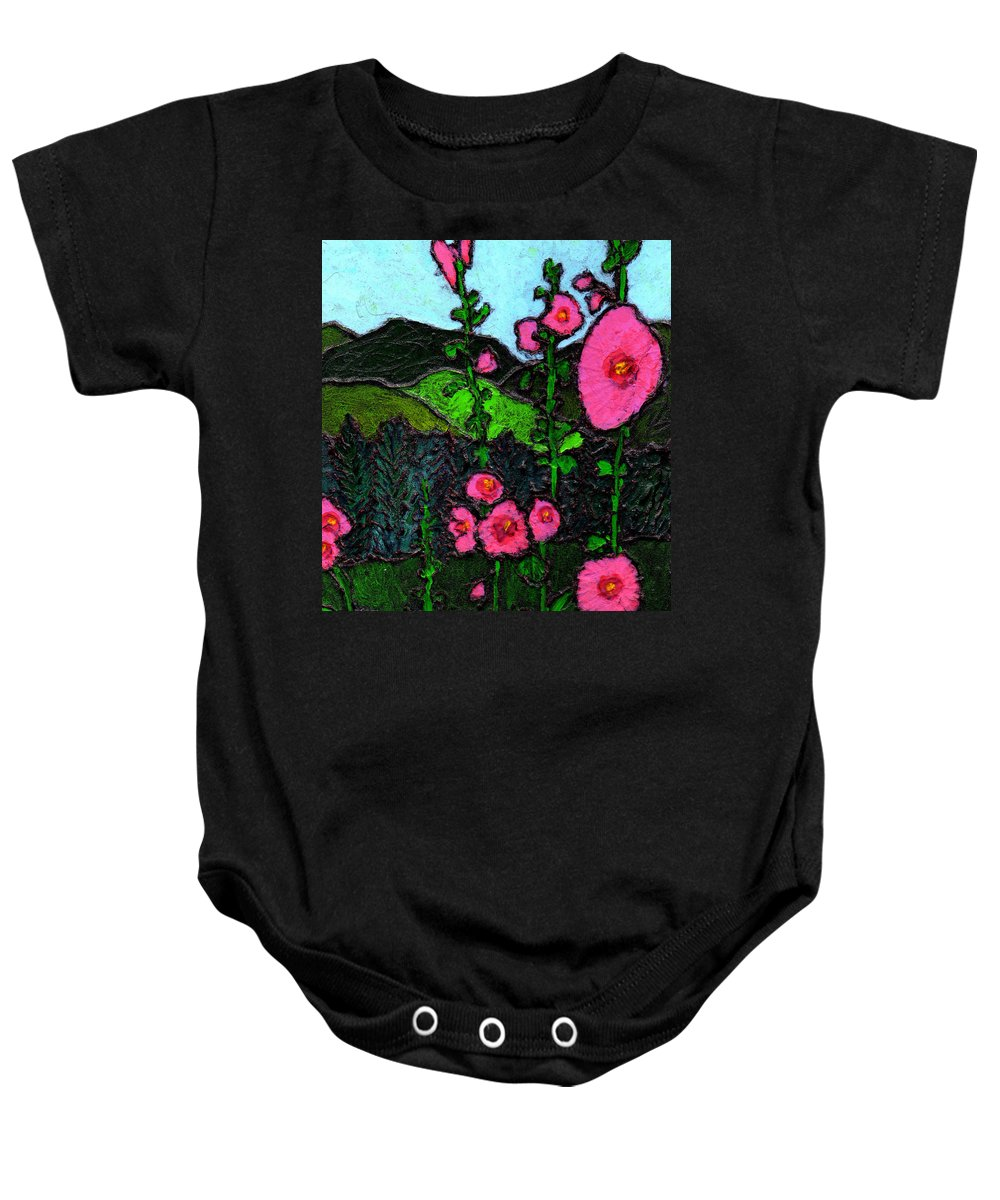 Hollyhocks Baby Onesie featuring the painting Hollyhocks by Wayne Potrafka