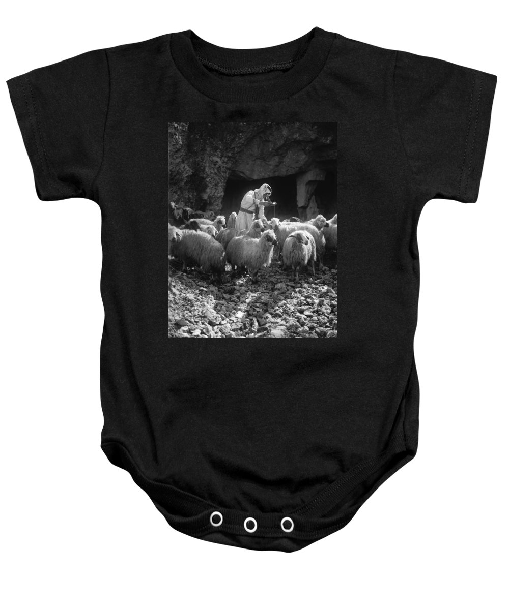 1910 Baby Onesie featuring the photograph Holy Land: Shepherd, C1910 by Granger