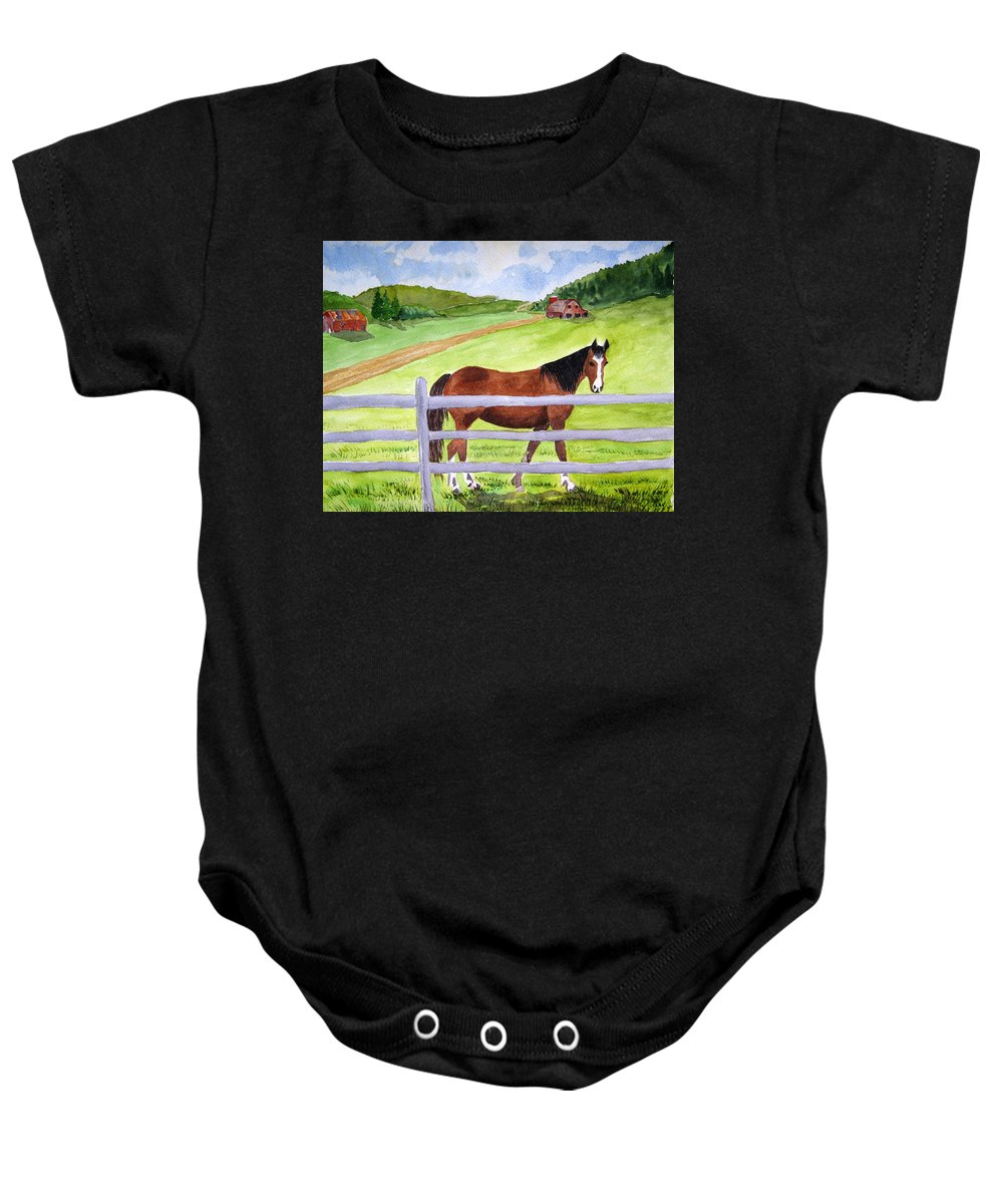 Horse Baby Onesie featuring the painting Home On The Farm by Julia RIETZ