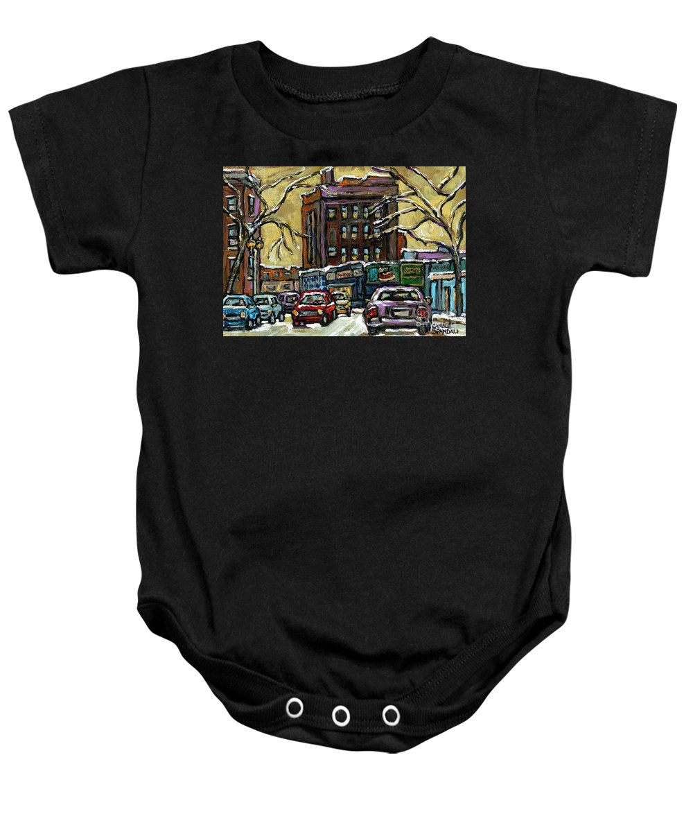 Original Montreal Paintings For Sale Baby Onesie featuring the painting Buy Original Paintings Montreal Petits Formats A Vendre Scenes Traffic On Rue Van Horne by Carole Spandau