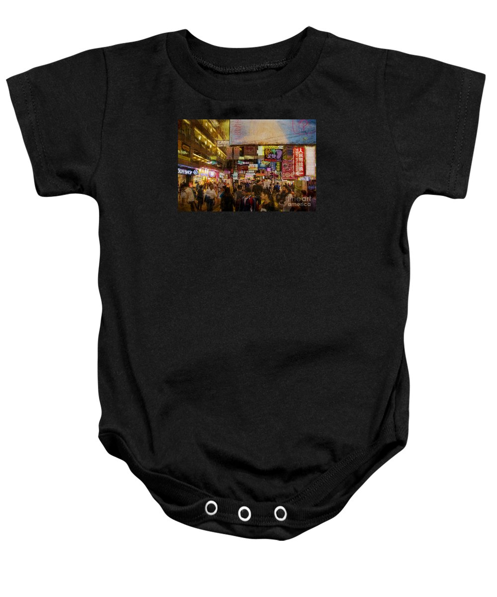 Hong Kong Baby Onesie featuring the photograph Hong Kong Streets by Stuart Row