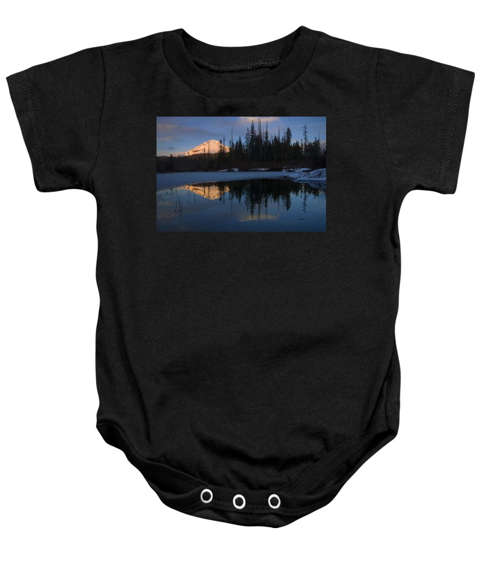 Mt. Hood Baby Onesie featuring the photograph Hood Alpenglow by Mike Dawson