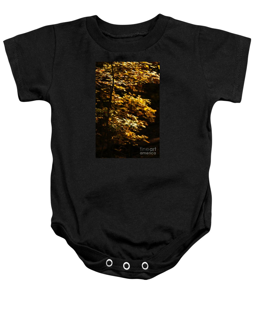 Autumn Baby Onesie featuring the photograph Hope Leaves by Linda Shafer