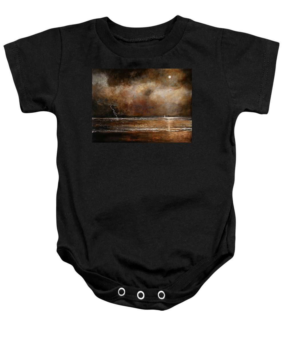 Abstract Baby Onesie featuring the painting Hope On The Horizon by Toni Grote