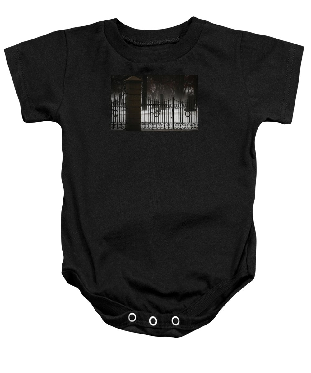 Fence Baby Onesie featuring the photograph Hopeful Expectation by Linda Shafer