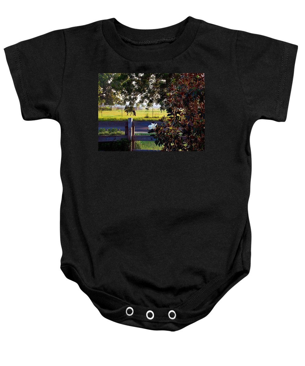 Pelican Baby Onesie featuring the photograph Horse And Flower by Michael Thomas