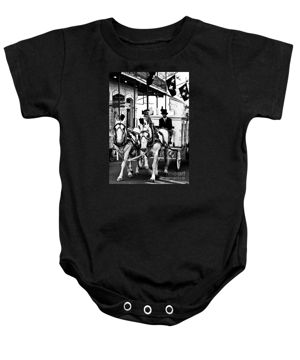 Horse Baby Onesie featuring the photograph Horse Drawn Funeral Carriage by Kathleen K Parker