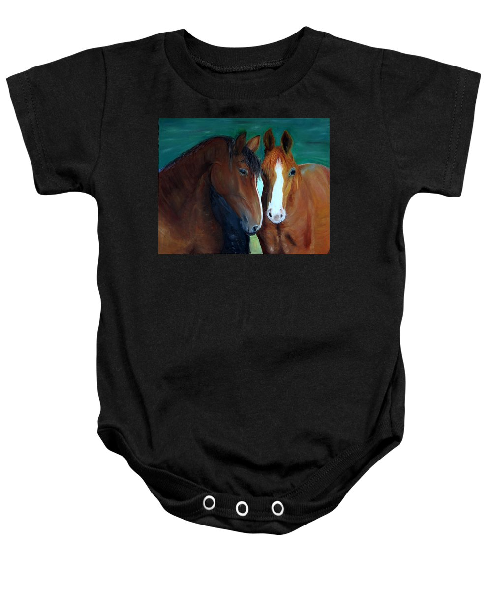 Horses Baby Onesie featuring the painting Horses by Taly Bar