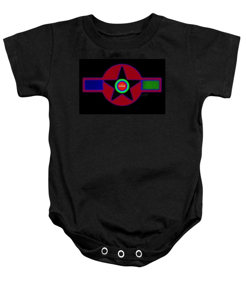 Usaaf Baby Onesie featuring the painting Hot Black by Charles Stuart