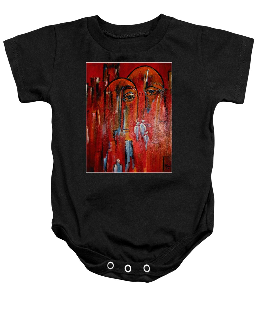 Heat Baby Onesie featuring the painting Hot City by Dragica Micki Fortuna