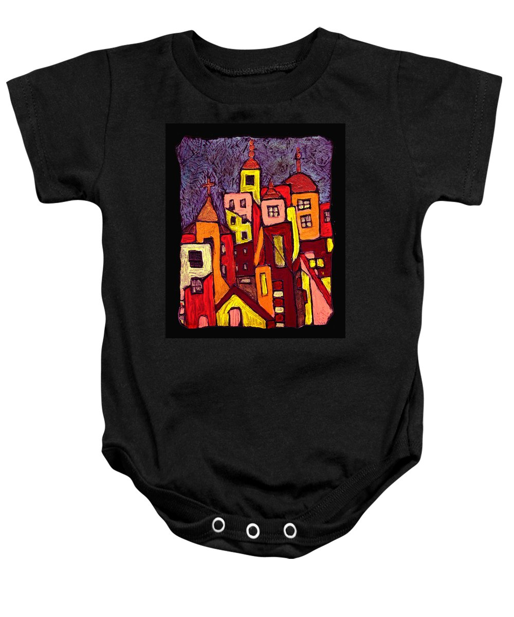 City Scapes Baby Onesie featuring the painting Hot Night In The City by Wayne Potrafka