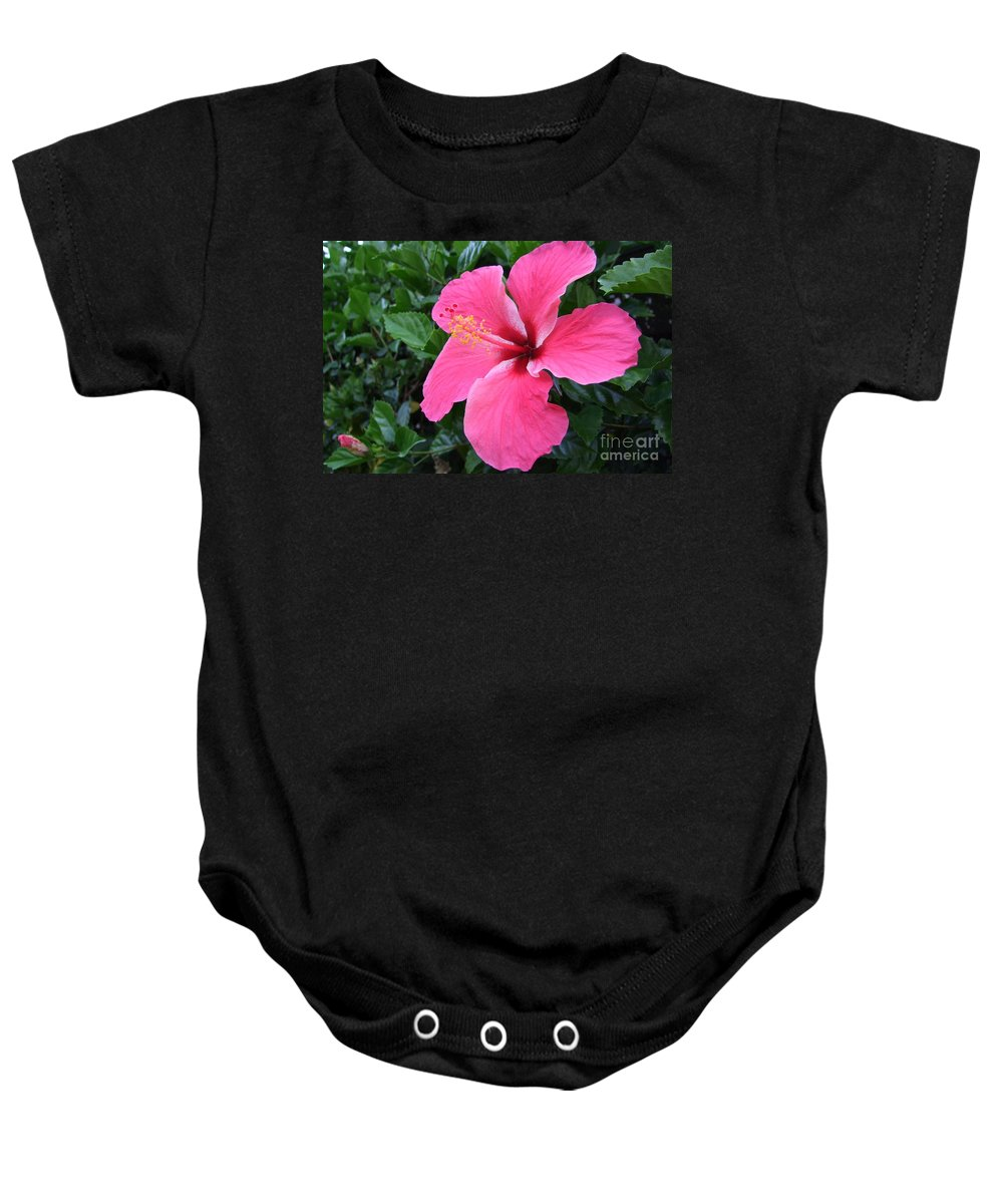 Pink Baby Onesie featuring the photograph Hot Pink Hibiscus 1 by Mary Deal