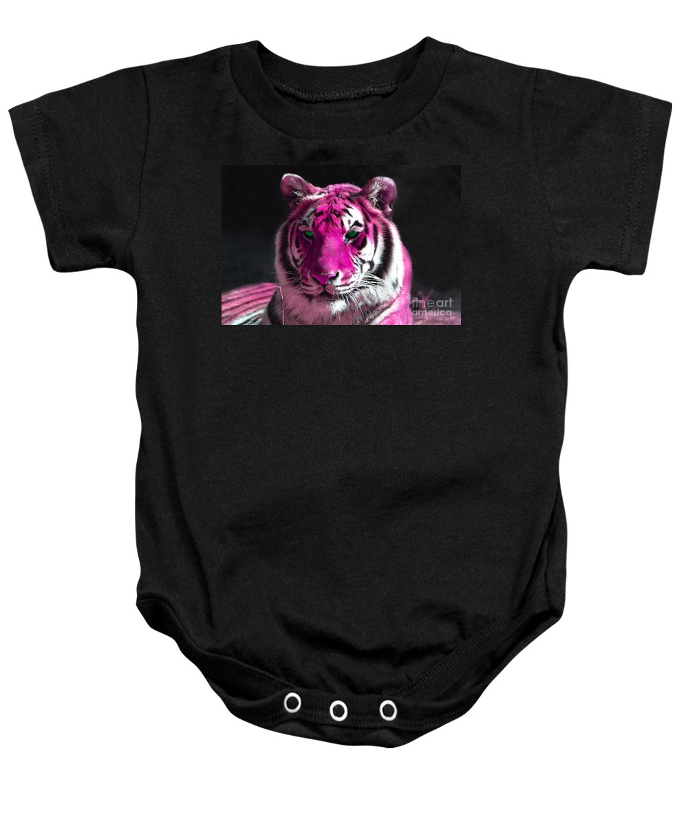 Hot Pink Tiger Baby Onesie featuring the photograph Hot Pink Tiger by Rebecca Margraf
