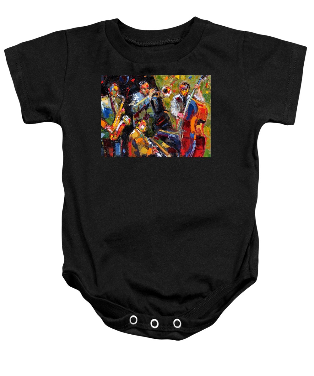 Jazz Baby Onesie featuring the painting Hot Quartet by Debra Hurd