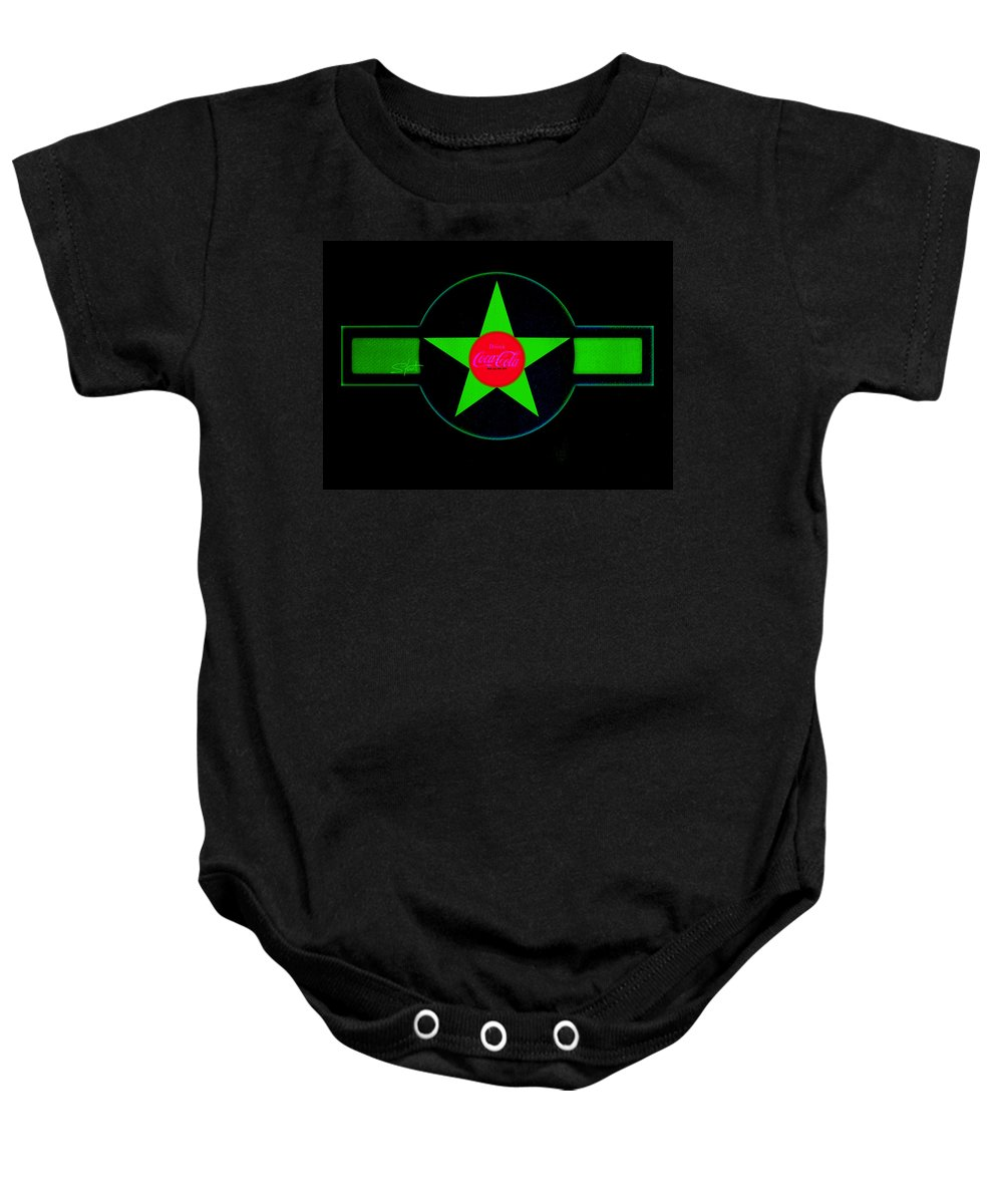 Label Baby Onesie featuring the painting Hot Red On Cool Green by Charles Stuart
