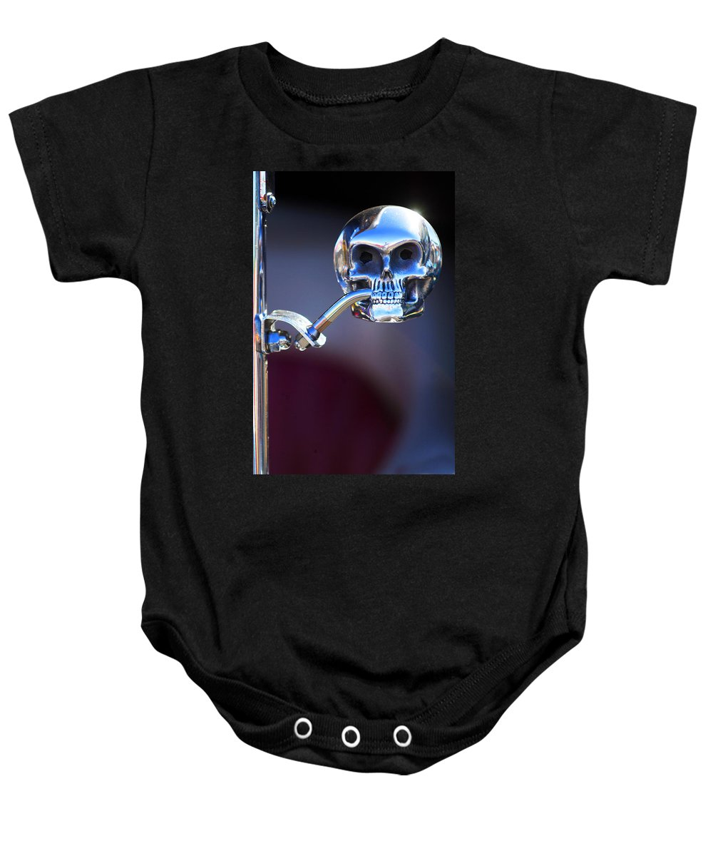 Car Baby Onesie featuring the photograph Hot Rod Skull Rear View Mirror by Jill Reger