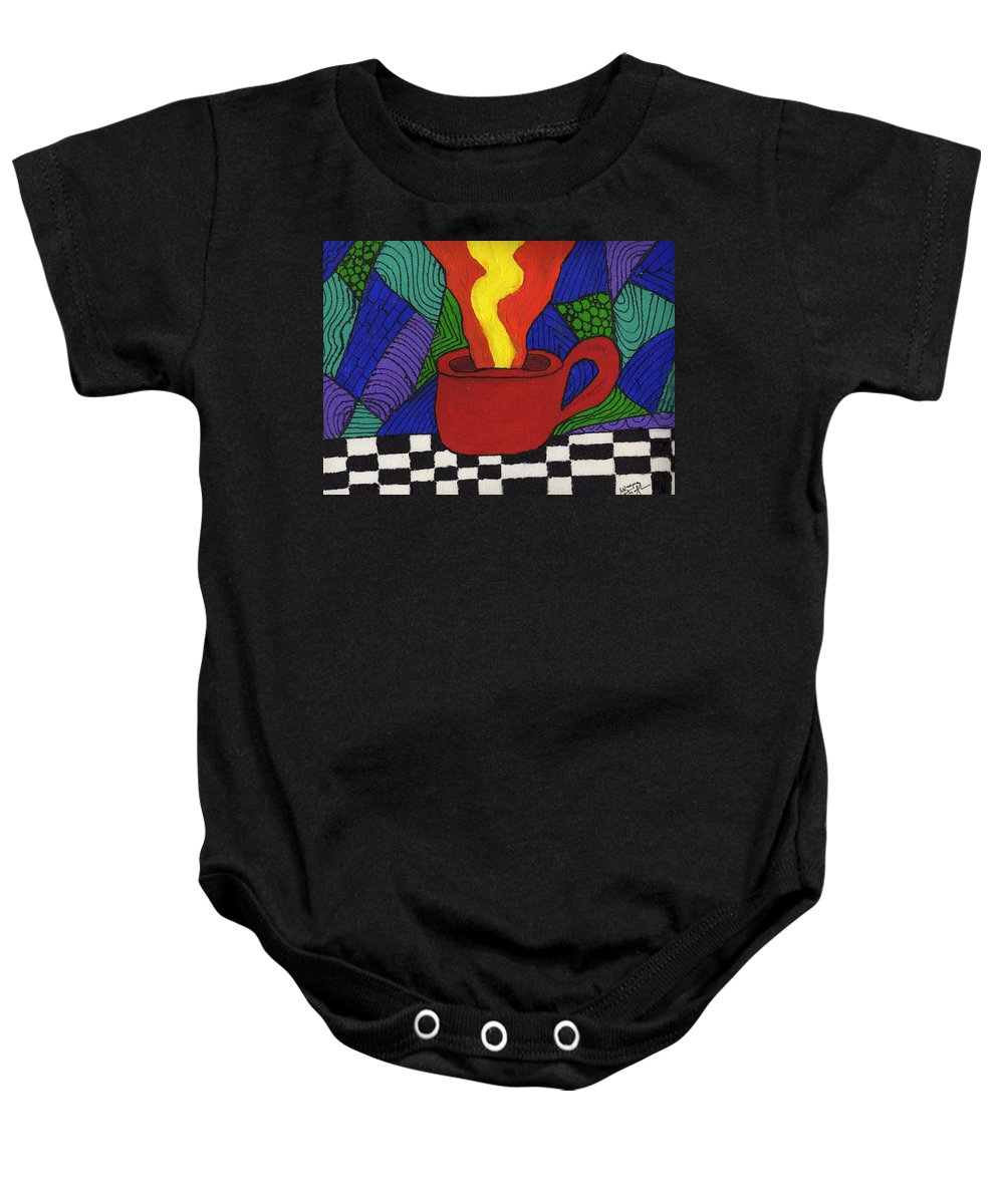 Tea Baby Onesie featuring the painting Hot Spot Of T by Wayne Potrafka