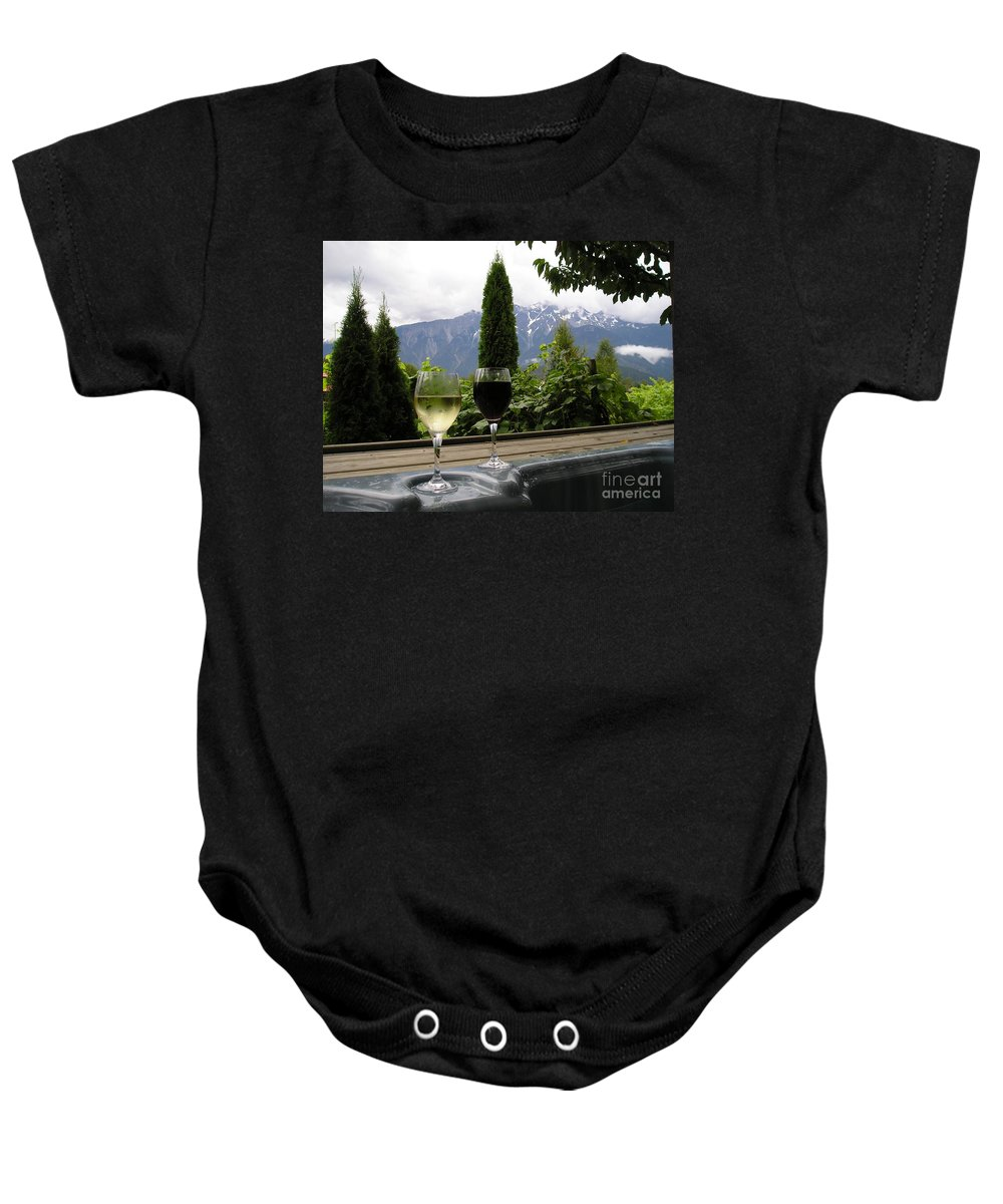 Hot Tub Baby Onesie featuring the photograph Hot Tub And Wine by Robert Meanor