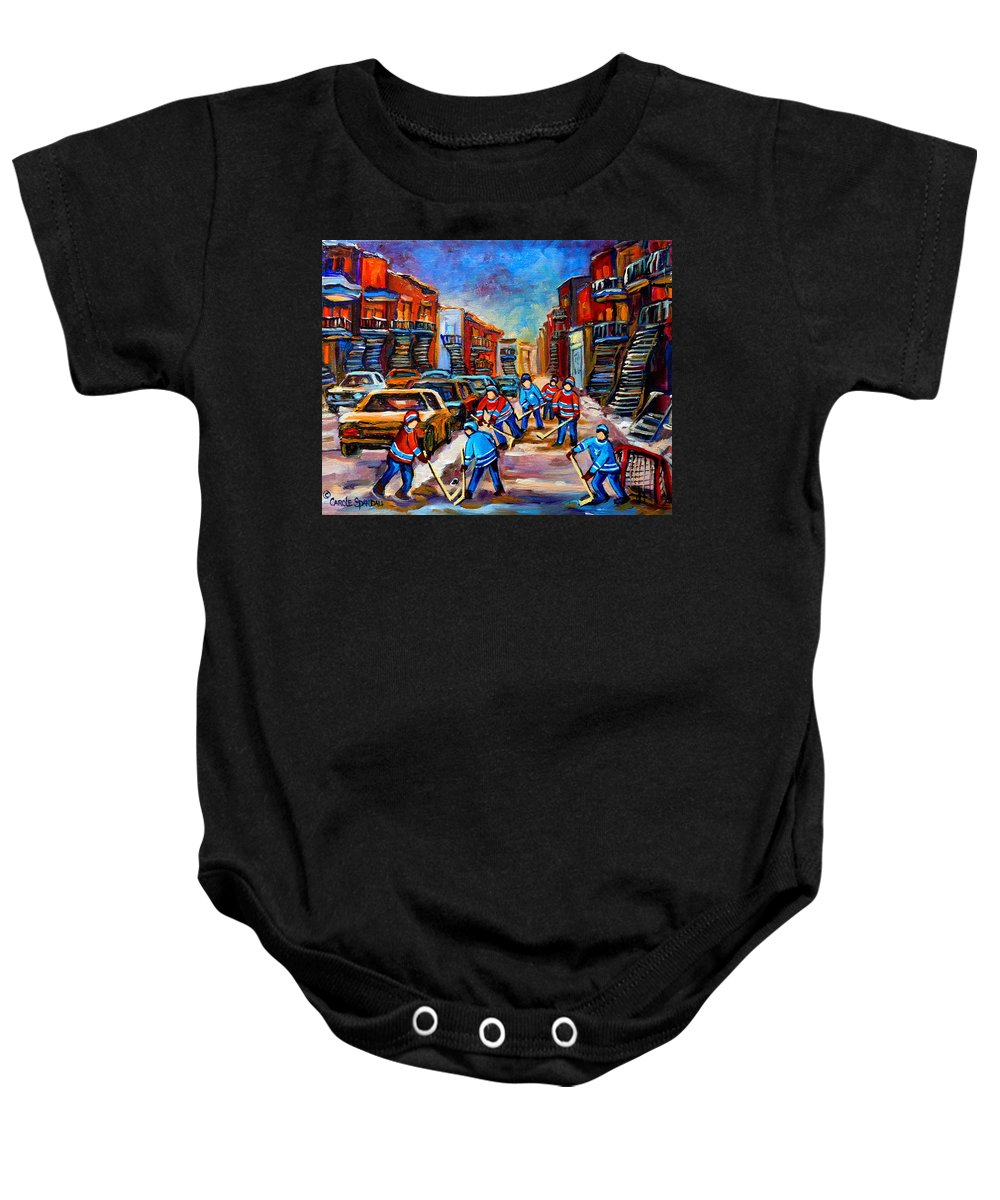 Montreal Baby Onesie featuring the painting Hotel De Ville Montreal Hockey Street Scene by Carole Spandau