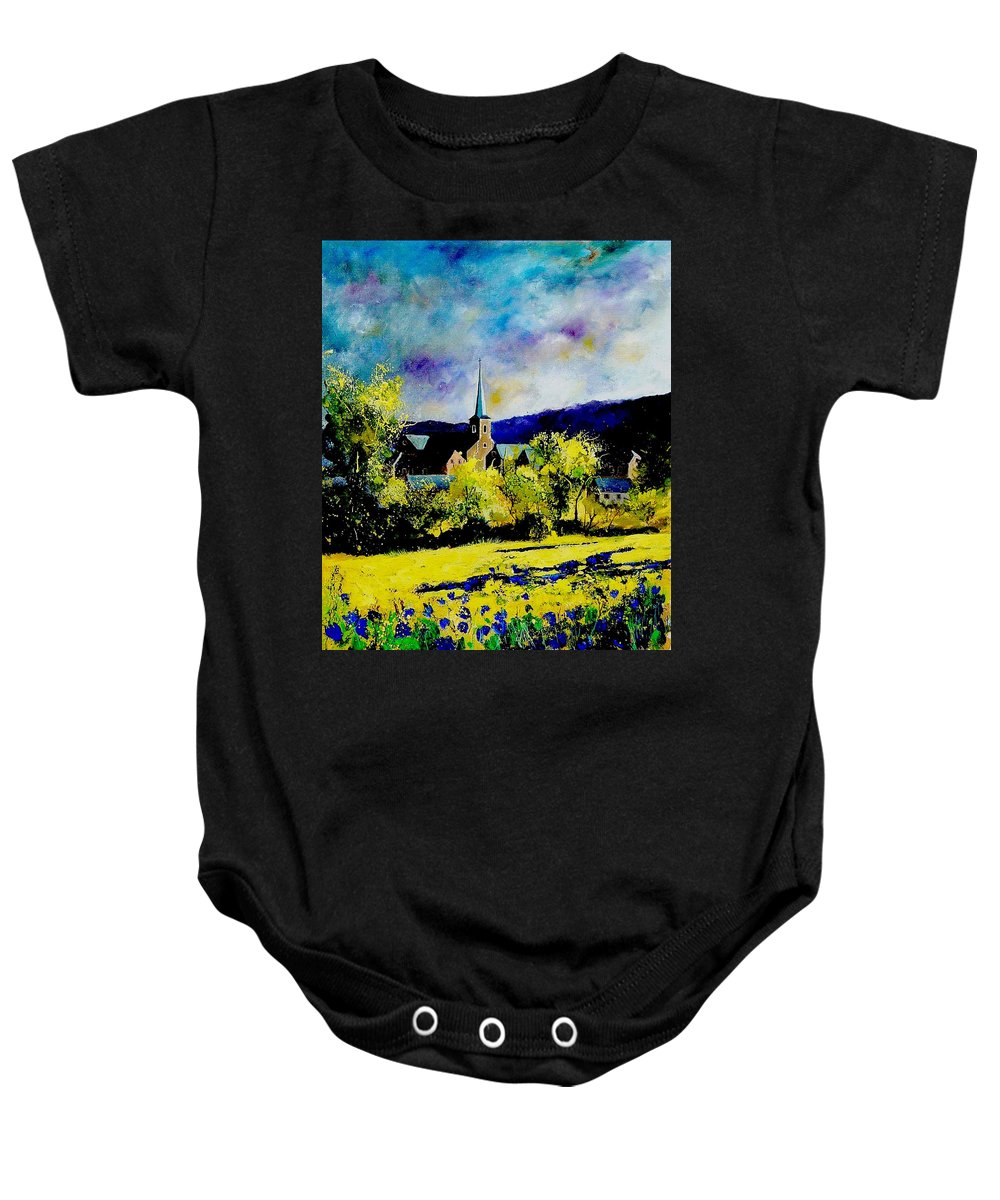 Poppies Baby Onesie featuring the painting Hour Village Belgium by Pol Ledent