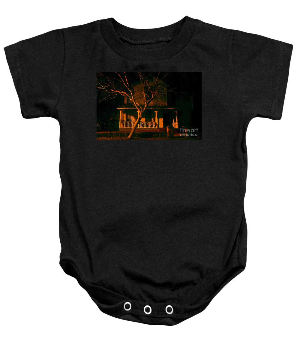 Haunted House Baby Onesie featuring the painting House On Haunted Hill by David Lee Thompson