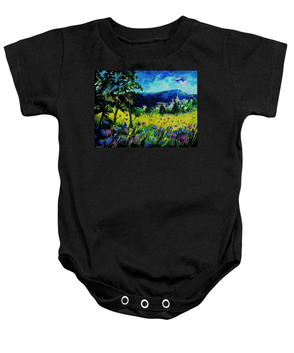 Flowers Baby Onesie featuring the painting Houyet 68 by Pol Ledent