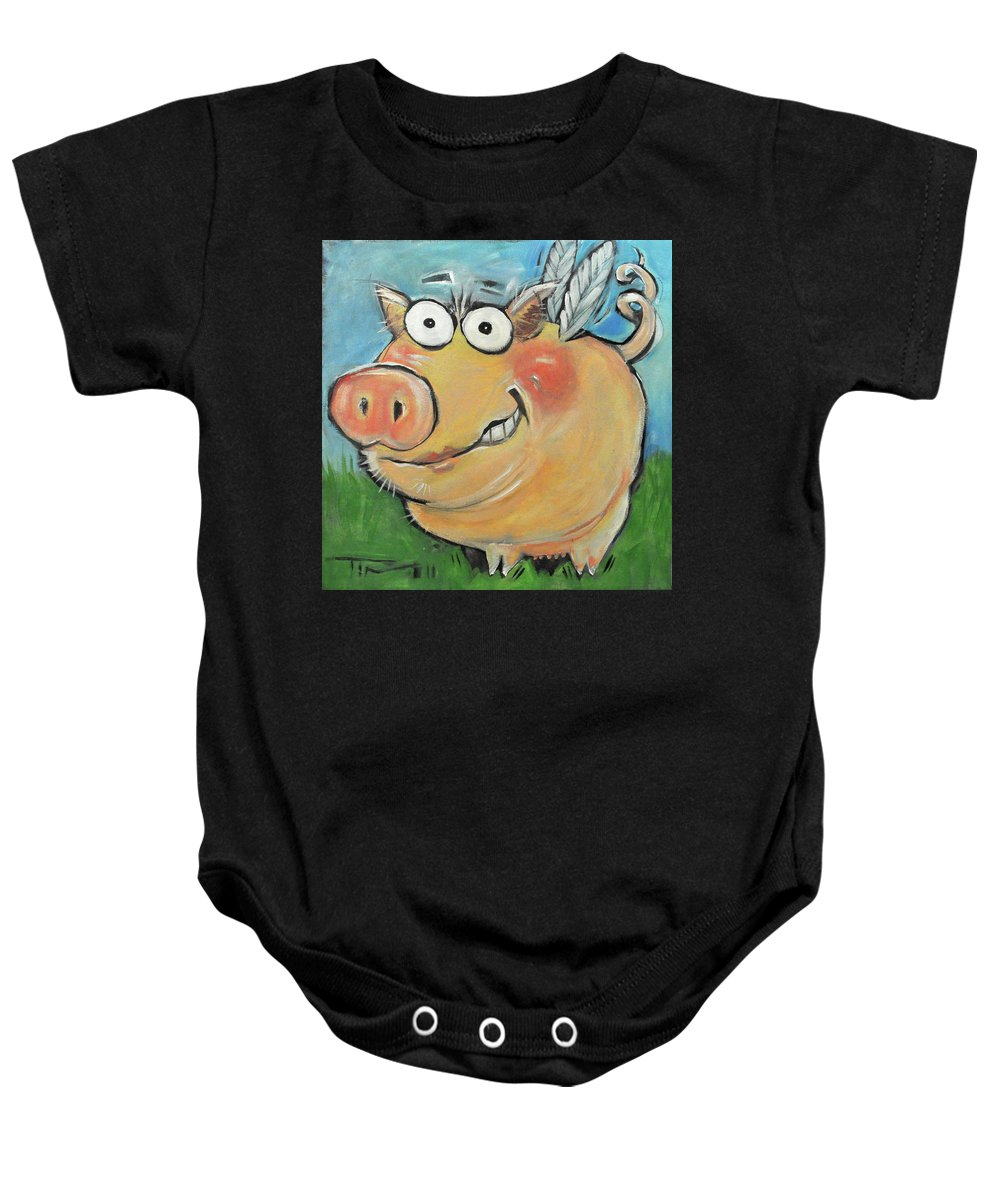Pig Baby Onesie featuring the painting Hovering Pig by Tim Nyberg
