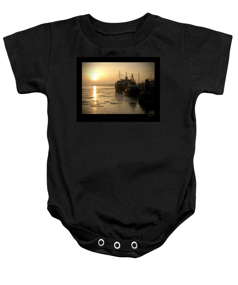 Boat Baby Onesie featuring the photograph Huddled Boats by Tim Nyberg
