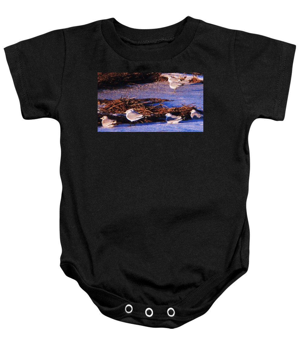 Beach Artwork Baby Onesie featuring the painting Huddling On A Winter Day by Eric Schiabor