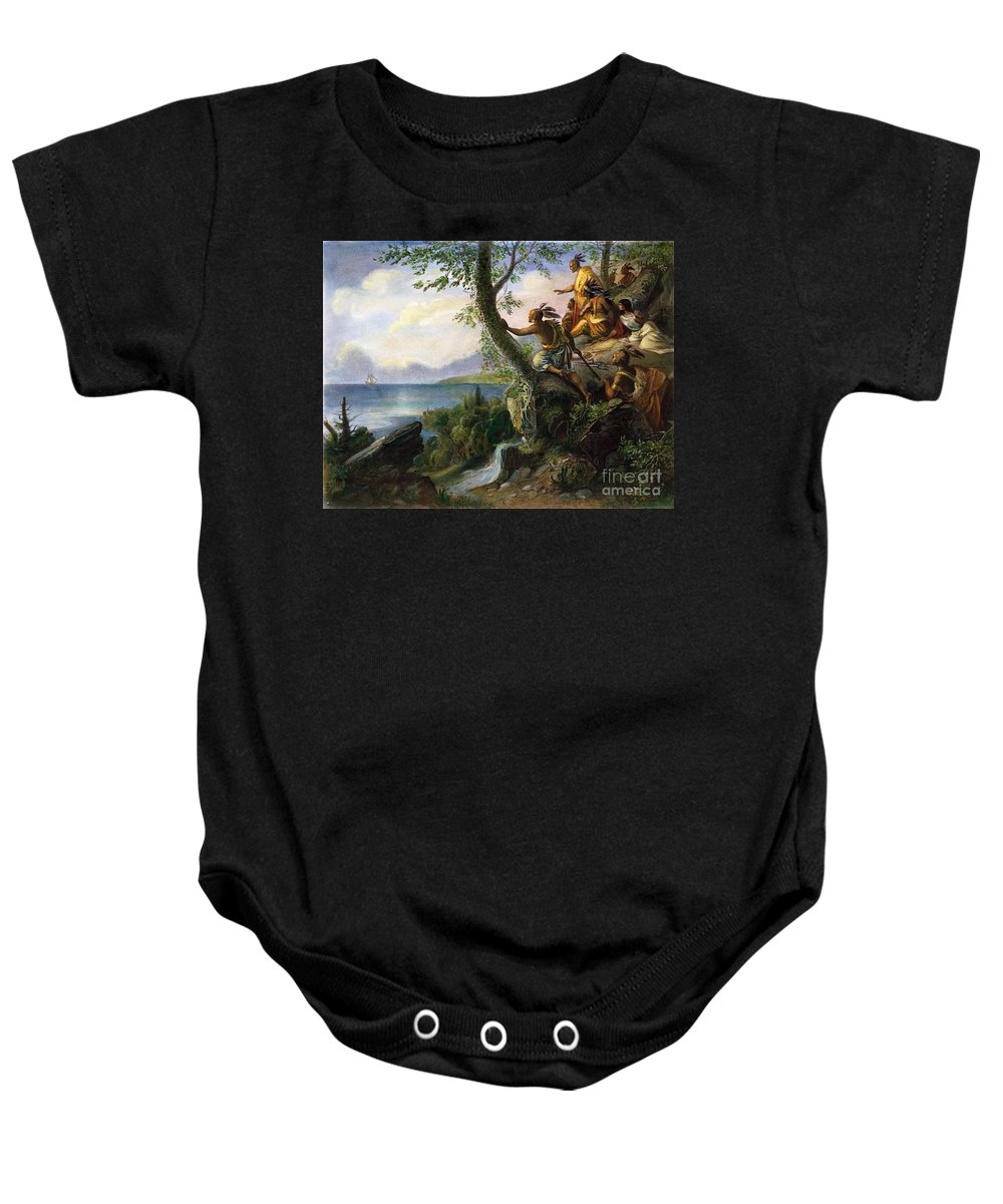 1609 Baby Onesie featuring the painting Hudson: New York, 1609 by Granger