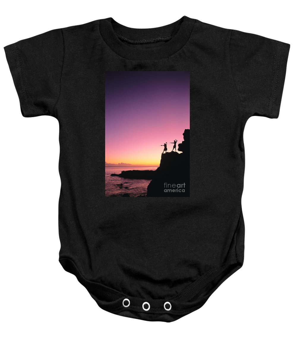Aloha Baby Onesie featuring the photograph Hula Silhouette by William Waterfall - Printscapes