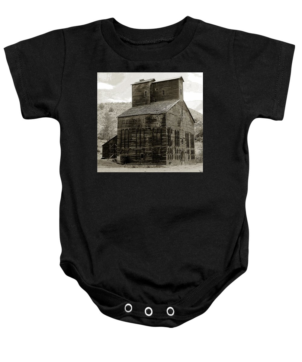 Art Baby Onesie featuring the painting Hunts Ferry Barn by David Lee Thompson