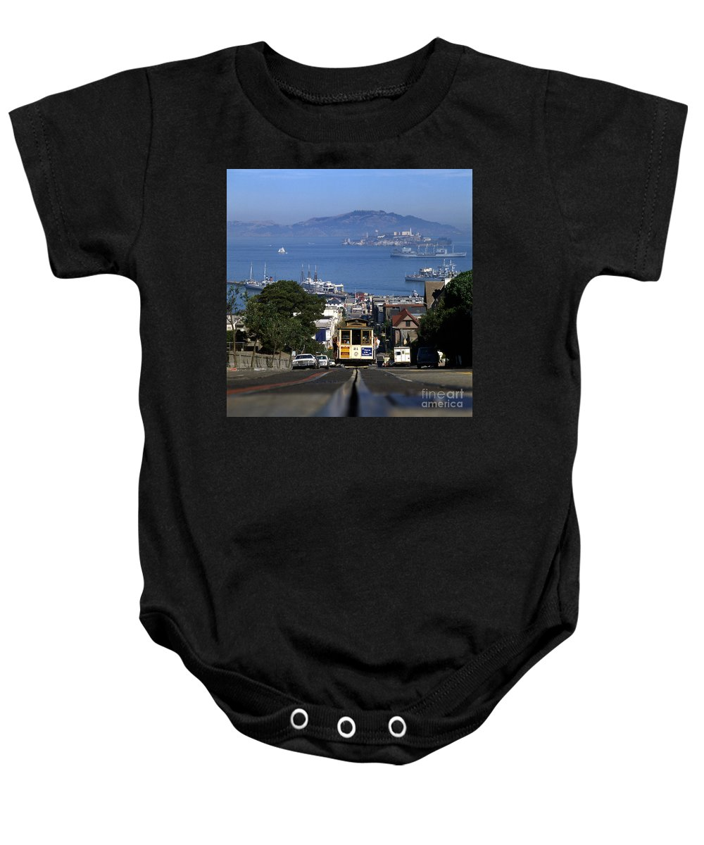 21 Baby Onesie featuring the photograph Hyde Street Cable Car 1978 by Wernher Krutein