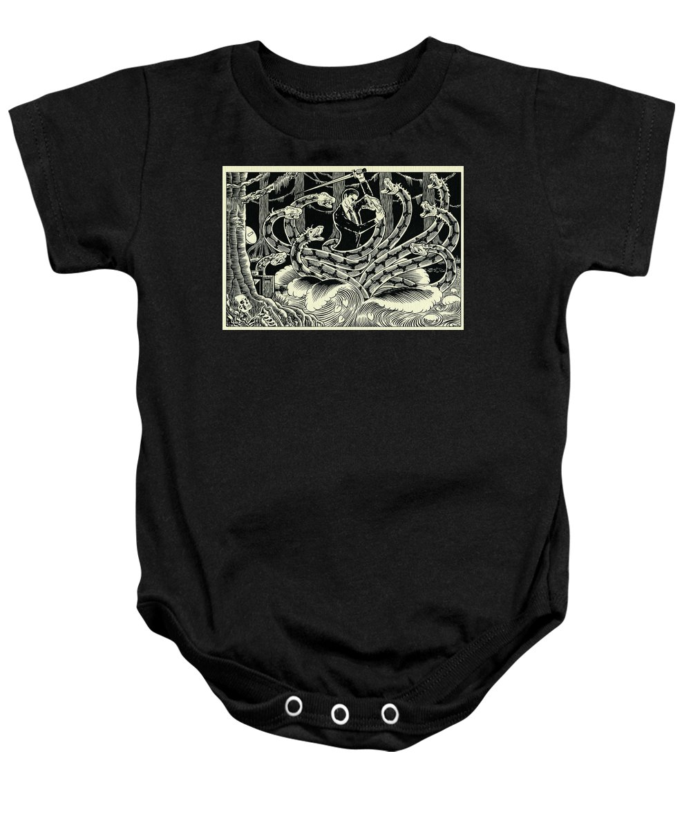 Hydra Baby Onesie featuring the drawing Hydra by Lance Miyamoto