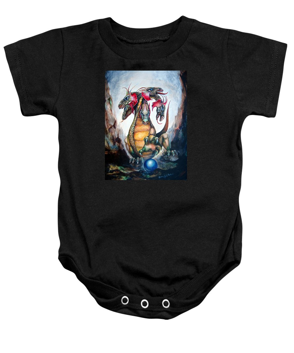 Hydra Baby Onesie featuring the painting Hydra by Leyla Munteanu