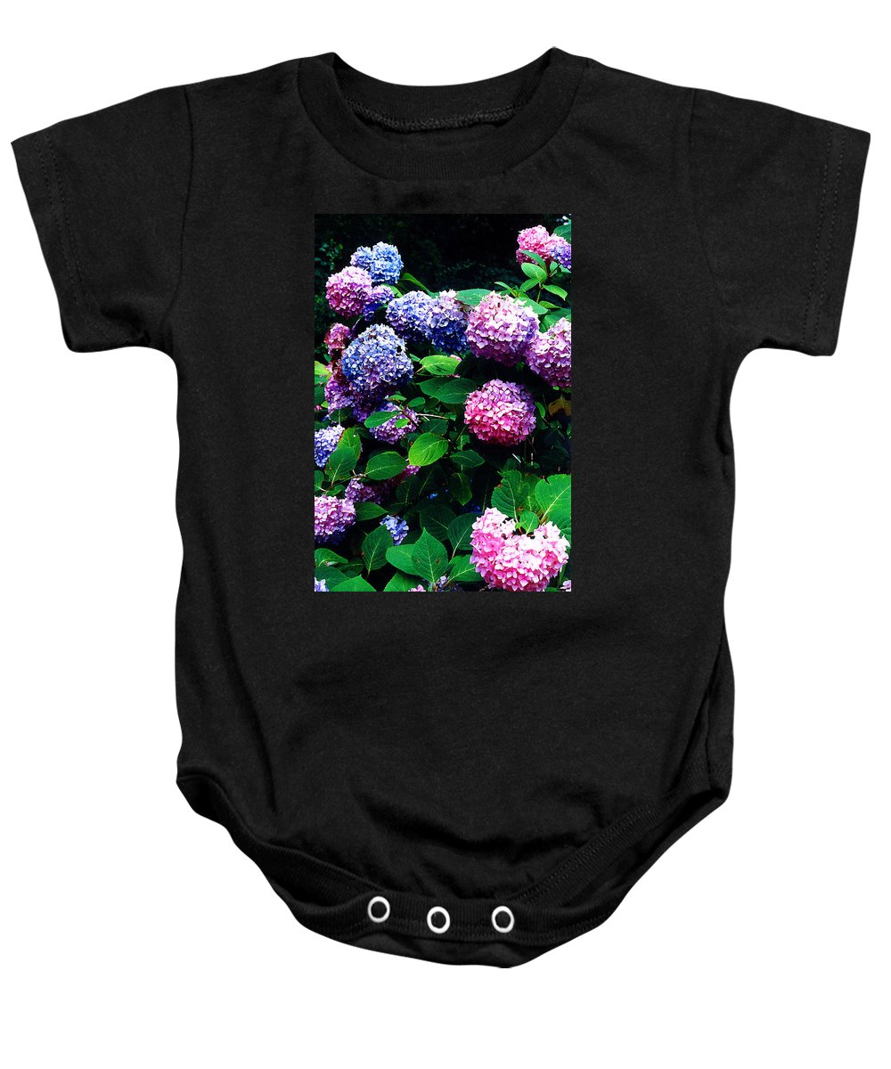Flowers Baby Onesie featuring the photograph Hydrangeas by Nancy Mueller