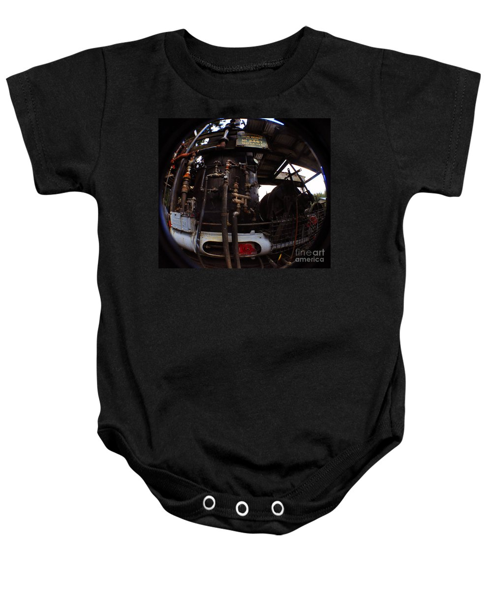 Clay Baby Onesie featuring the photograph Hydraulic-mechanical Managerie by Clayton Bruster