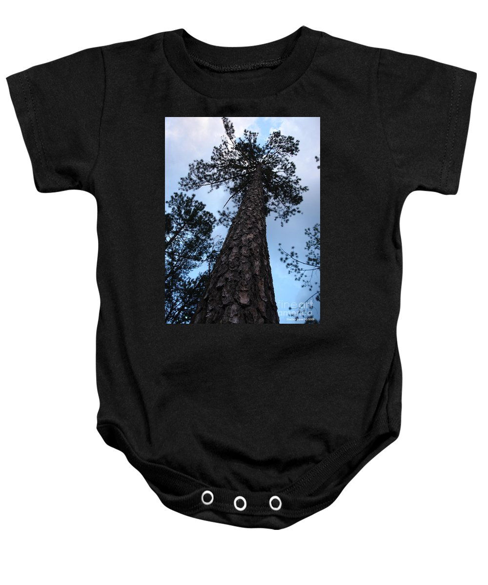 Tree Baby Onesie featuring the photograph I Can Touch The Sky.... Can You by Shelley Jones