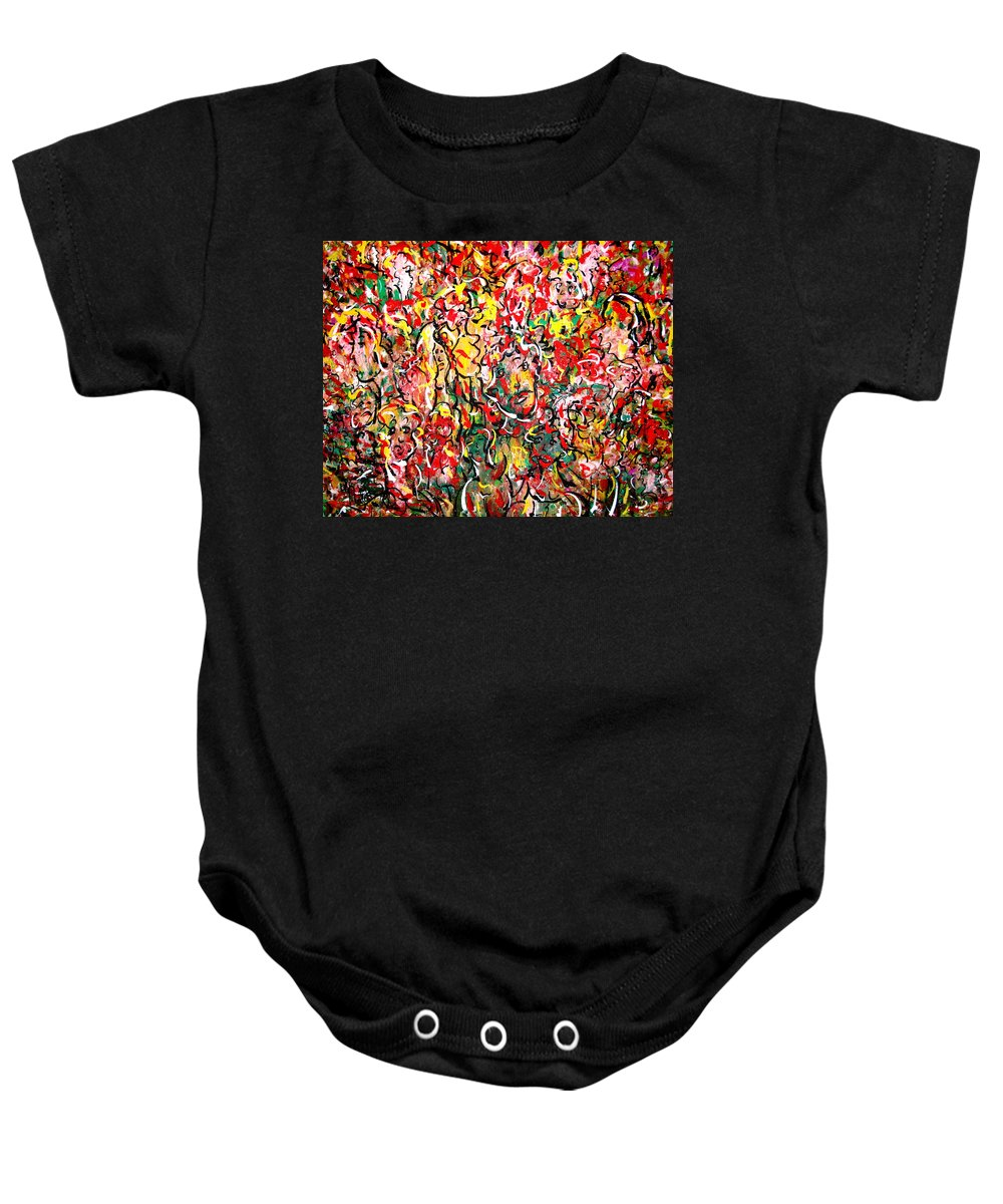 Party Baby Onesie featuring the painting I Love Natalie's Party by Natalie Holland