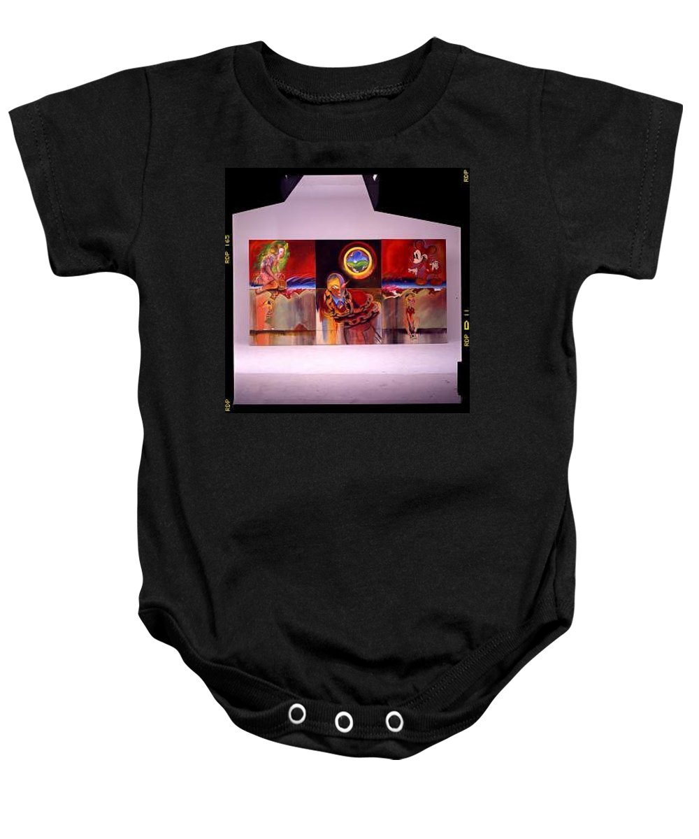 Spiderman Baby Onesie featuring the painting I Saw The Figure Five In Gold by Charles Stuart