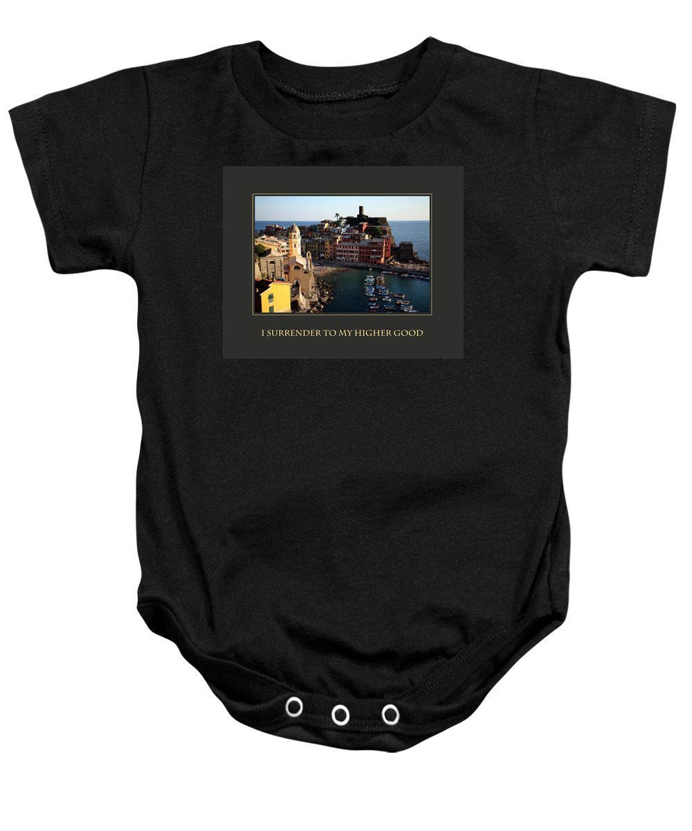 Motivational Poster Baby Onesie featuring the photograph I Surrender To My Higher Good by Donna Corless